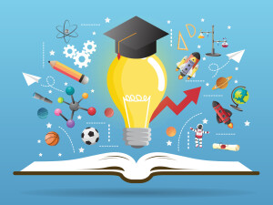 Open book idea on light bulb.education concept.can be used for layout,vector